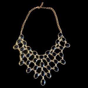 Gold & Black Jeweled Bib Statement Necklace